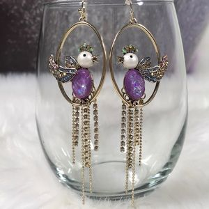 BETSEY JOHNSON Rhinestone Bird Cage Earrings